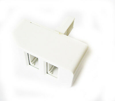 Pack of  2 x 2 WAY BT TELEPHONE SPLITTER ADAPTER DOUBLE WALL SOCKET