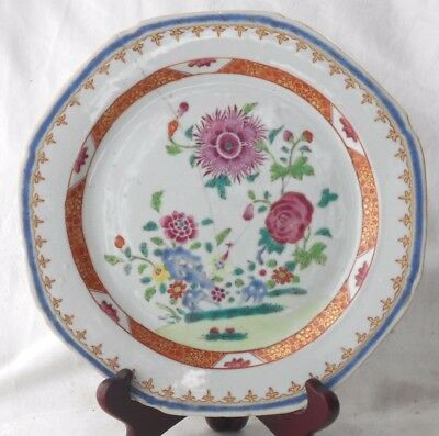 C18Th Chinese Famille Rose Plate Decorated With Flowers And Leaves A/f