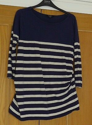 New look maternity long sleeved top size 16 blue white stripe