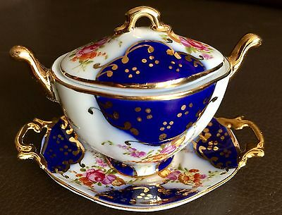 "Hand Painted & Gold Gilded English ""Roselle"" Bone China Miniature Tureen & Tray"