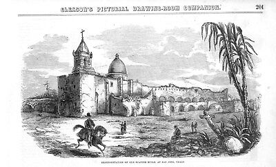 Old Spanish Ruins at San Jose, Texas  -  Catholic Mission  -  1852 Antique Print