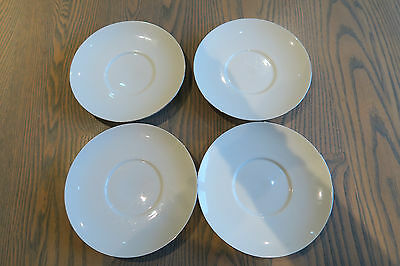 Thomas Germany china, white with thin platinum band, 4 saucers for coffee cups