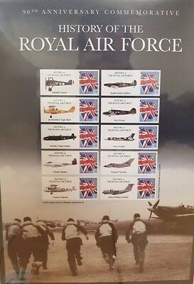 CC ~ Royal Air Force ~ Mint Stamps ~ 90th Anniversary ~ Assorted Aircraft ~ 1st
