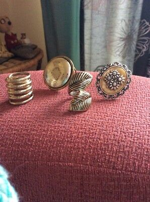 Vintage Scarf Rings (4) all Very different designs