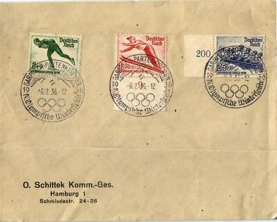 Dr Jim Stamps Winter Olympic Games Nazi Germany Combination Cover 1936