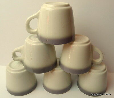 Buffalo China Cup Cafe Style Vintage White and Gray Rimmed USA Lot of 6
