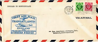 Dr Jim Stamps British Airmail First Flight London Botwood Legal Size Cover 1939