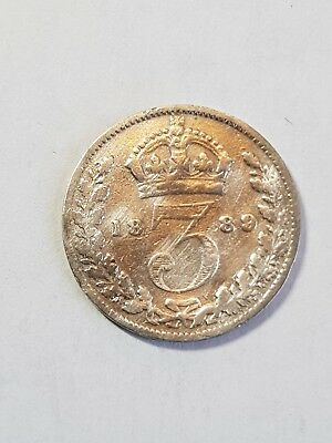 1889 Lovely British Silver ThreePence , Victorian Coin.