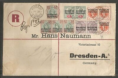 R Cover Pitsani Fe 26 1899 via Mafeking -Dresden Bechuanaland Protectorate CERT