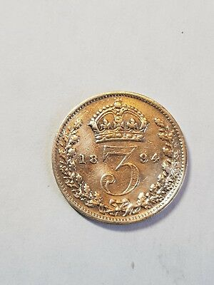 1894 Lovely British Silver ThreePence , Victorian Coin.