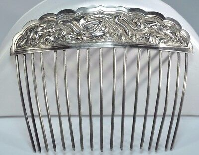 Antique Sterling Silver Large Hair Comb Pin Birds Man Hair Jewelry