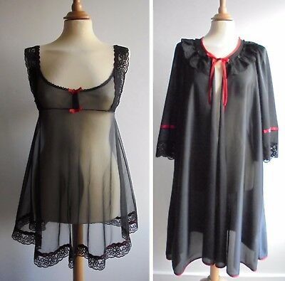 Vintage 70s Red Black Lace Nylon Nightie Babydoll Negligee Dressing Gown UK12-14