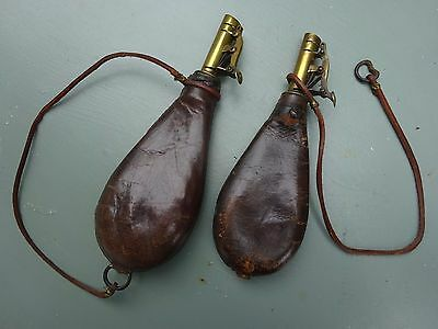 2 x Original Victorian leather shot bags - Good working condition