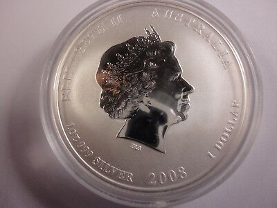 Australia 2008 1 one dollar 1 ounce (approximately 28.35 g.) .999 silver of Quee