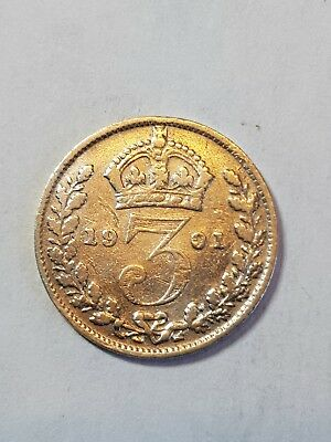 Lovely  1901 British Silver ThreePence , Victorian Coin.