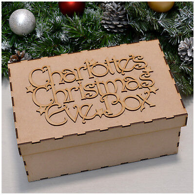 PERSONALISED Laser Cut MDF Wooden CHRISTMAS EVE BOX Xmas Box Topper Memory Box