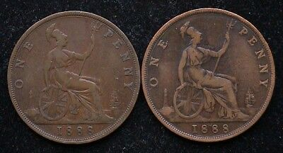 Pair of 1888 Victoria BUN PENNIES - normal issue and missing serifs on I's type.