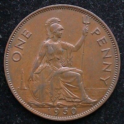 Rare 1950 George VI Bronze PENNY. A key date and in decent condition.