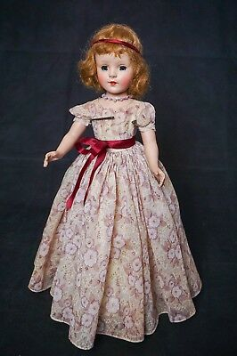 "Vintage American Character Sweet Sue 18"" Hard Plastic Walker Doll factory gown"