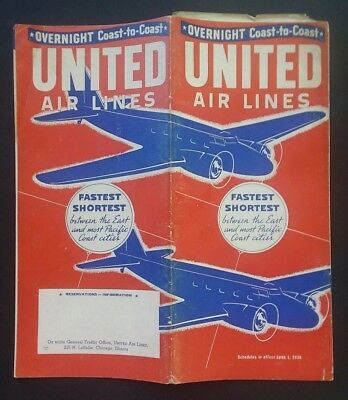 RARE! UNITED AIRLINES 1936 Schedule GREAT COVER GRAPHICS Good Cond.  22 pgs.