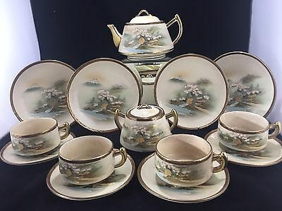 Antique Japanese Satsuma Tea Set Coffee Set Teapot Hand Painted Signed
