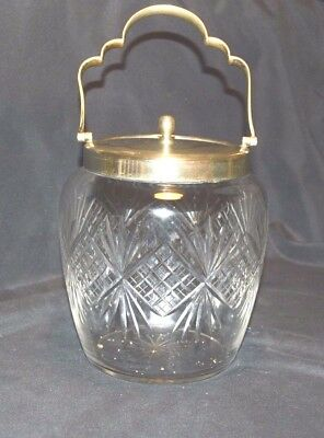 Cut Glass barrel with EPNS rim/handle and lid.