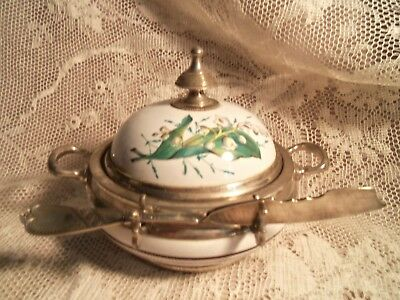 Antique Porcelain & Silver Plate Covered Butter Dish W/knife