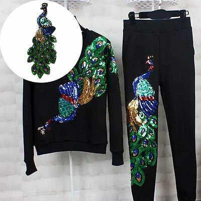 DIY Embroidered Peacock Sequins Patches Applique Sew Iron On Badge Garment Decor