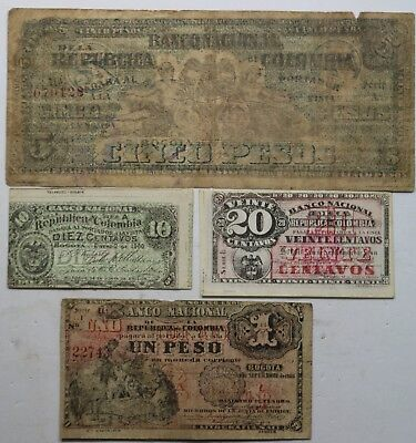 Colombia 4 Notes Lot  Banco Nacional Small Notes and Republica Colombia 5 Peso