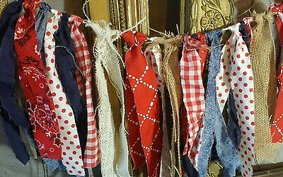 AMERICANA RAG GARLAND, 5 ft,Homespun,Country,Prim,Shabby,Patriotic,4th of July