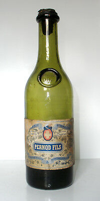 Olive Green Turn Mold, Applied Seal Bottle PERNOD FILS D' ABSINTHE with Label