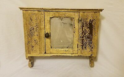 Antique wood Wall Hanging Medicine Cabinet Cupboard  1800s