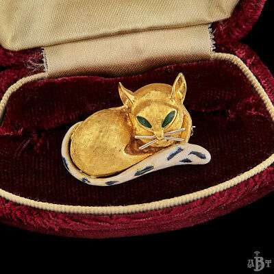 Antique Vintage Deco 18k Gold Enamel Spotted Tail Kitty Cat Estate Brooch Pin