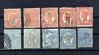 Australien, Queensland, Lot, 10 Marken, gestempelt