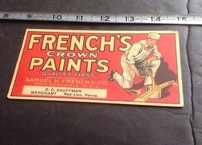 French's CROWN Paints ADVERTISING RED LION PA  Blotter GRAPHIC! COLORFUL