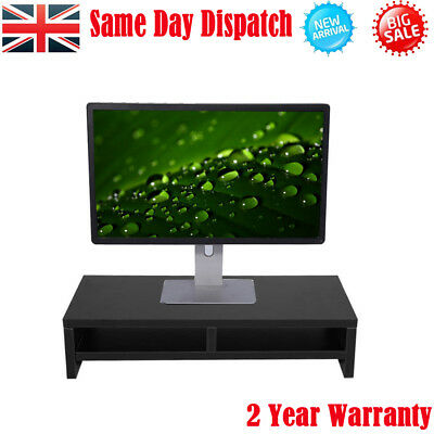 Desktop Monitor Stand TV LCD Computer Screen Riser Wood Shelf Plinth Laptop UK