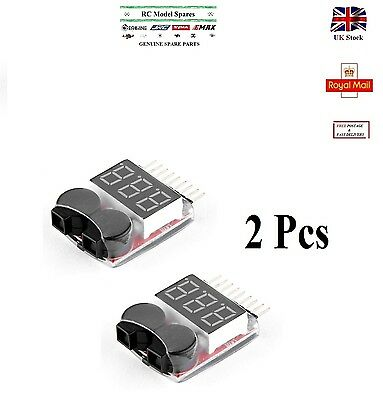 2Pcs Voltage Buzzer Alarm Indicator 1-8S Lipo LiFe LiMn Li-ion Battery Monitor