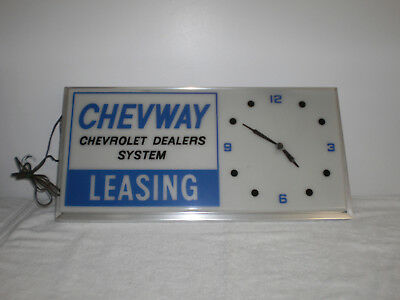 """Vintage Chevrolet Lighted """"Chevway Dealers Leasing System Clock"""" - 26 x 12 In."""