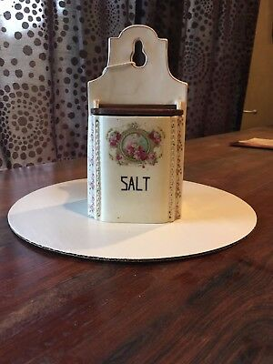 Wall mounted antique china salt box marked Gretl
