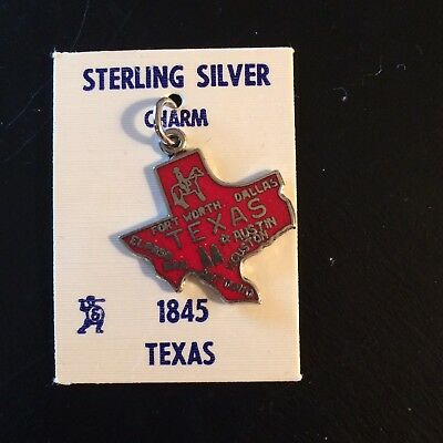 Texas Red Enamel Sterling Silver Charm