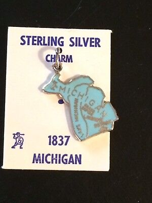 Michigan Blue Enamel Sterling Silver Charm