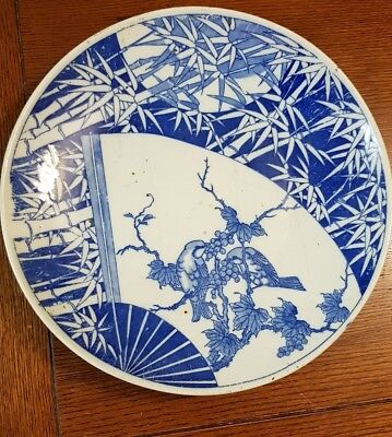 Large and impressive Japanese blue and white charger plate Meiji period(?)