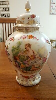 ANTIQUE DRESDEN PORCELAIN GERMANY HAND PAINTED GILDED FLOWERS LIDDED JAR 1900's
