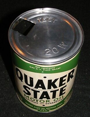 QUAKER STATE MOTOR OIL CAN Authentic VTG 1930-40s Empty  OIL CITY PA. U.S.A.