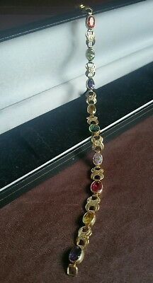 "Estate vintage multi gemstone Authentic 18ct yellow gold bracelet , 8"" closed ."