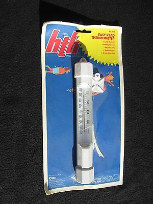 NEW Olin HTH Pool THERMOMETER w/Cord Easy-To-Read Stick on Anchor Nylon cord
