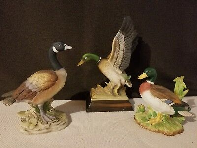 Set Of 3 Porcelain Waterfowl Figurines