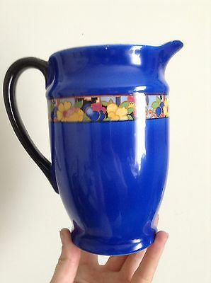 Beautiful Electric Blue BCM Nelson Ware Deco Jug & Geometric Floral Band & Gilt