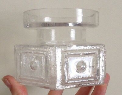 """60s Clear Glass FT88 Frank Thrower Panel & Spot 3.25"""" Hexagonal Candle/Posy Vase"""