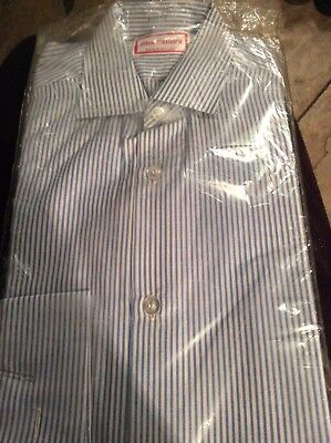 Mrs Candy Blue/white Stripe Childs Riding Show Shirt,size 12.5.